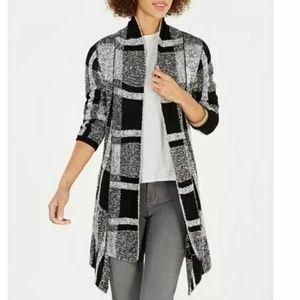 Style&CO PP Black Plaid Cardigan 6AN72